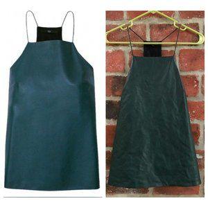 Tibi Emerald Green Lambskin Leather Silk Back Top